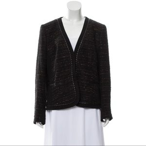 Lafayette 148 Tweed Blazer with Leather Trim